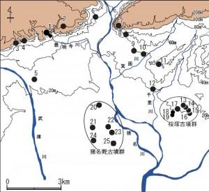 猪名川流域における有力古墳の分布図