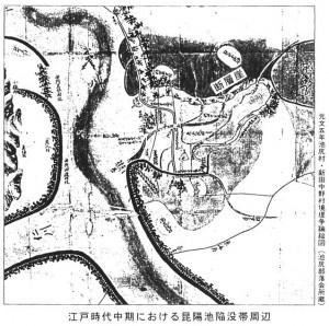 元文5年 池尻村・新田中野村境堤争議絵図(池尻部落会所蔵)